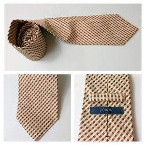J. Crew Necktie Italian 100% Silk Brown/Tan
